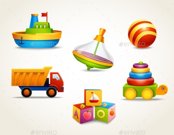 GraphicRiver Toys Icons Set 8898644