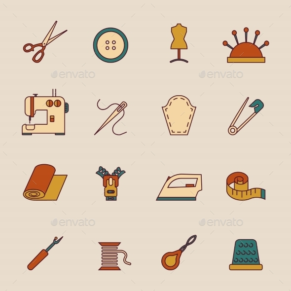 GraphicRiver Sewing Equipment Icons Set 8898662