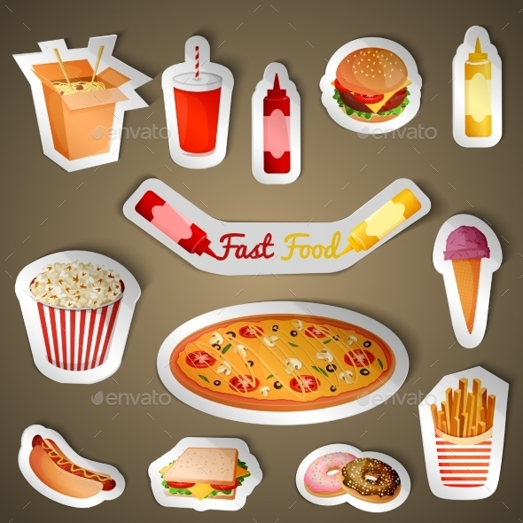 GraphicRiver Fast Food Stickers 8898672