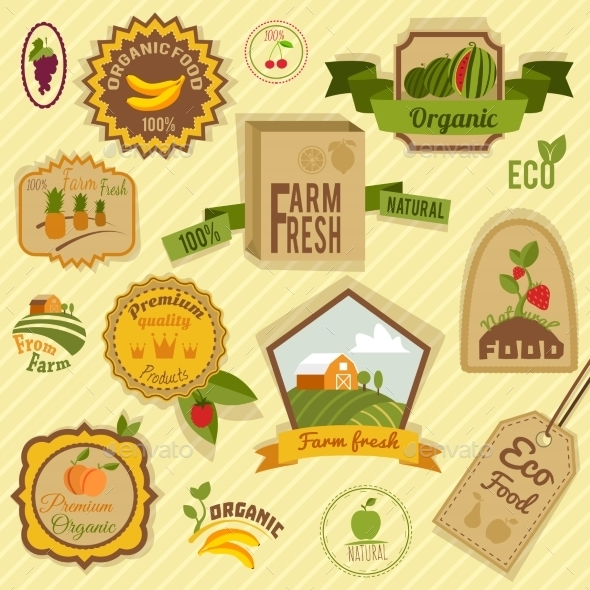 GraphicRiver Eco Labels Fruits 8898677
