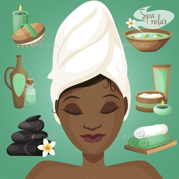 GraphicRiver Black Woman in Spa 8898682