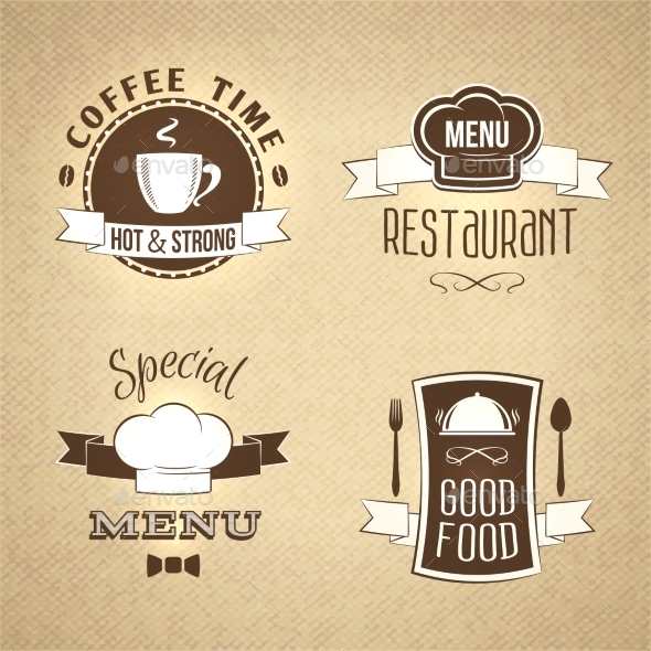 GraphicRiver Restaurant Menu Emblems Set Textured 8898698