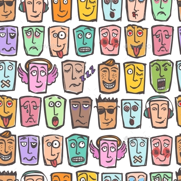 GraphicRiver Sketch Emoticons Seamless Pattern 8898700