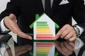 Businessman Showing Energy Efficient Chart On House Model - PhotoDune Item for Sale