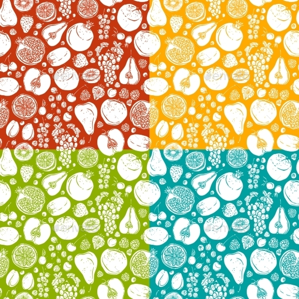 GraphicRiver Fruits and Berries Sketch Seamless Pattern 8898702