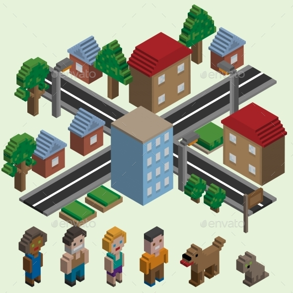GraphicRiver Isometric Pixel City 8898760