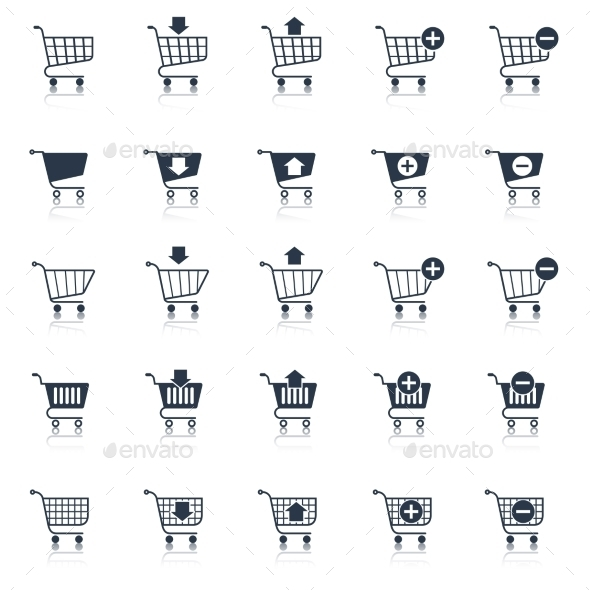 GraphicRiver Shopping Cart Icons Black 8898843