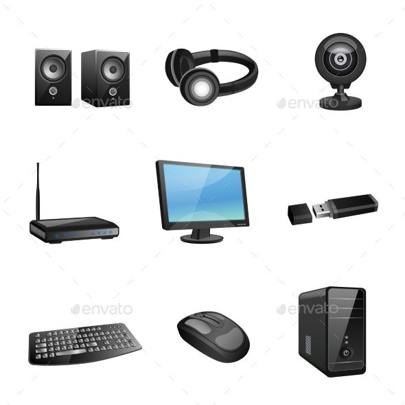 GraphicRiver Computer Accessories Icons Black 8898860