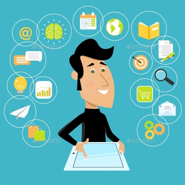 GraphicRiver Man with Tablet 8898869