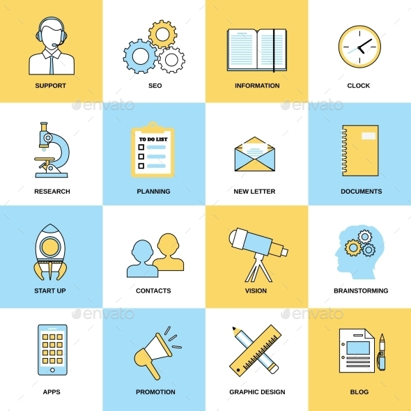 GraphicRiver Business Icons Flat Line Set 8898879
