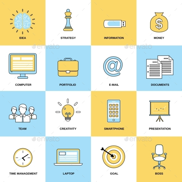 GraphicRiver Business Icons Flat Line Set 8898882