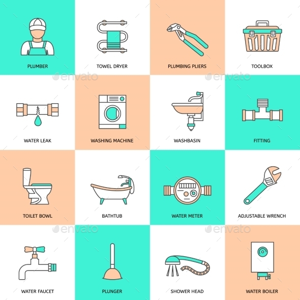GraphicRiver Plumbing Icons Flat Line Set 8898898