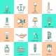 Flashlight and Lamps Icons Flat Line - GraphicRiver Item for Sale