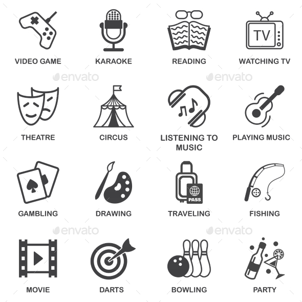 GraphicRiver Entertainments Icons Set 8898957