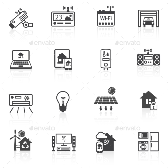 GraphicRiver Smart Home Icons Black 8898979