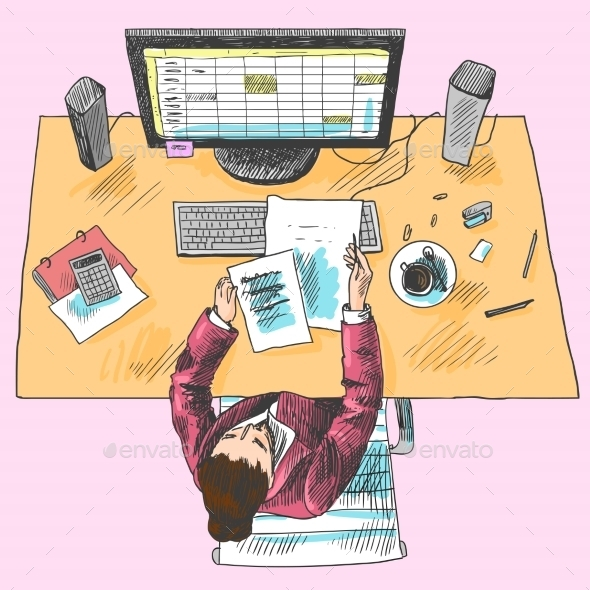 GraphicRiver Accountant Work Place Colored 8899003