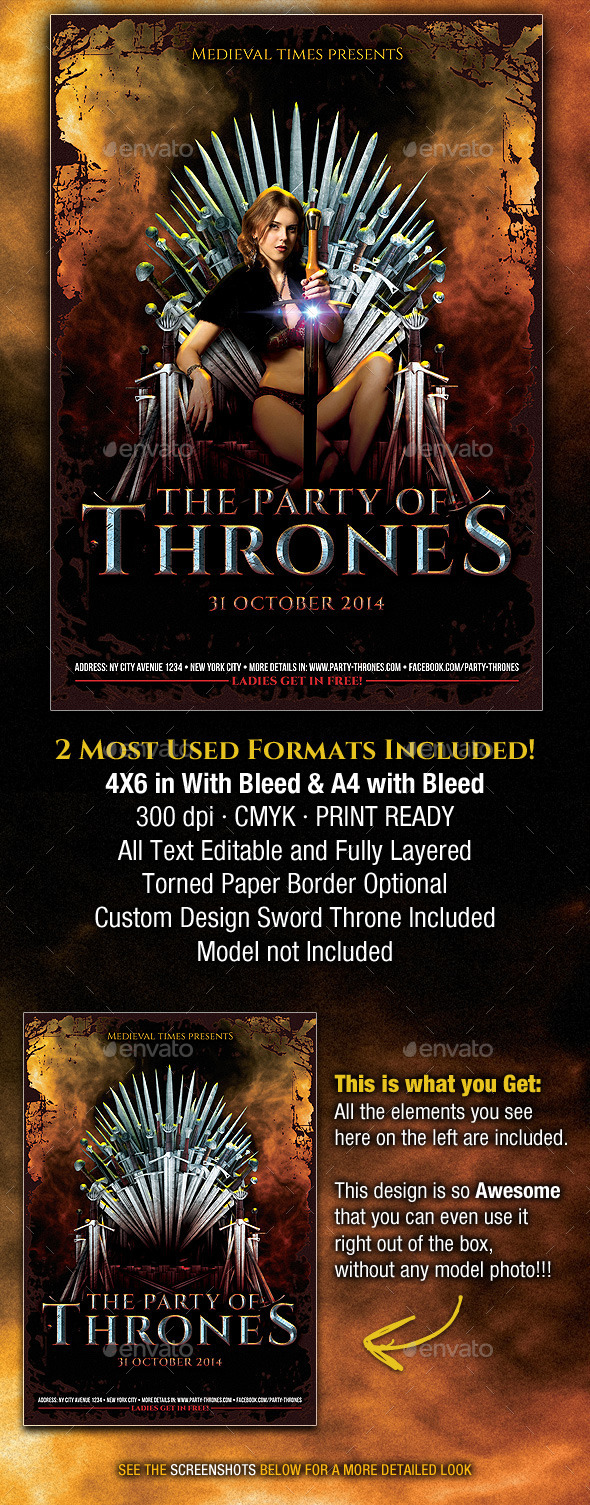 GraphicRiver The Party of Thrones Medieval Flyer 8899053