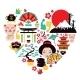 Japan Symbols Heart - GraphicRiver Item for Sale