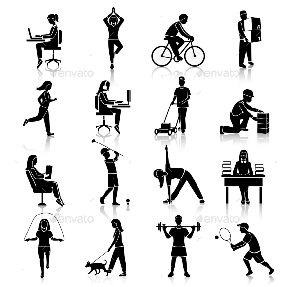 GraphicRiver Physical Activity Icons Black 8899098
