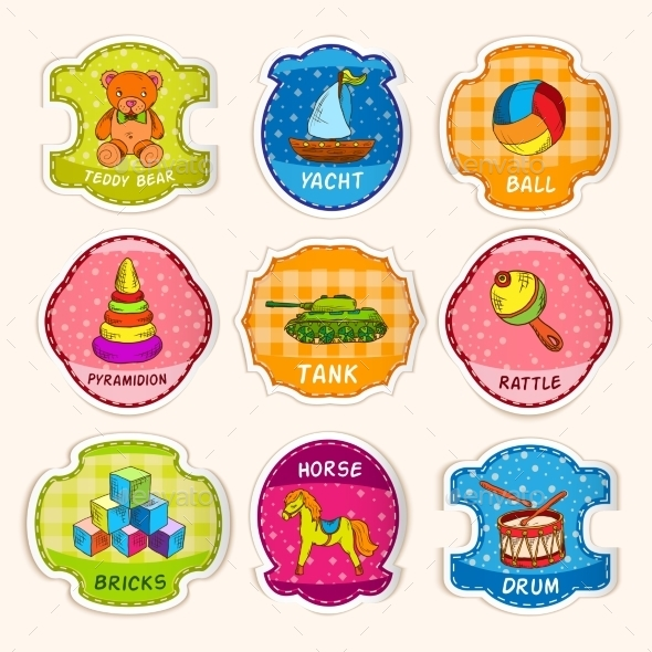 GraphicRiver Toys Labels Sketch 8899101