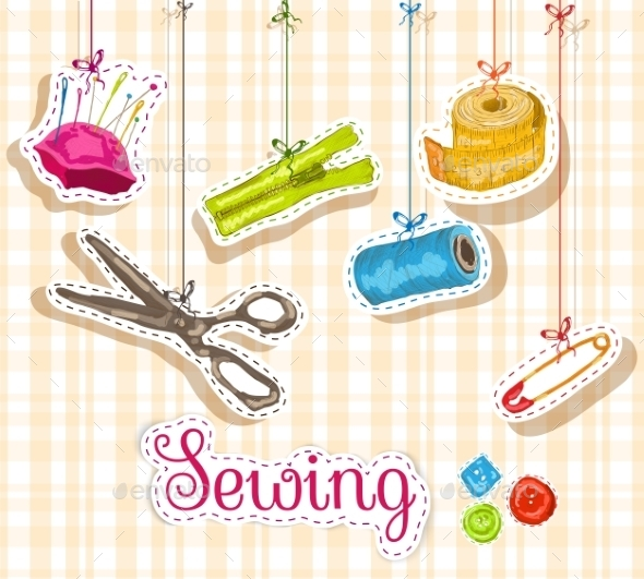 GraphicRiver Sewing Sketch Composition 8899104