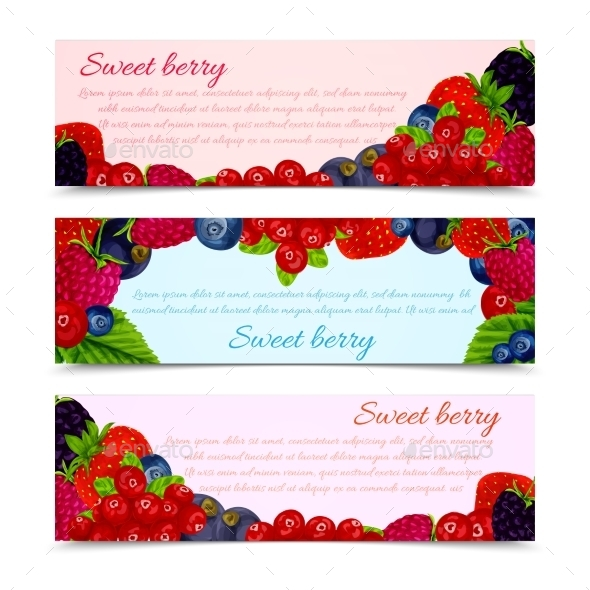 GraphicRiver Berries Banners Set Horizontal 8899113