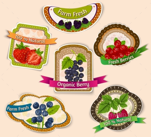 GraphicRiver Berries Emblems Set 8899114