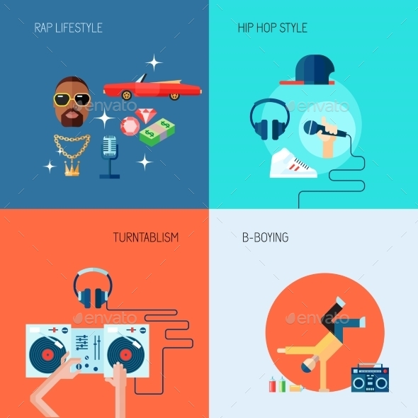 GraphicRiver Rap Music Icons Set Flat 8899116