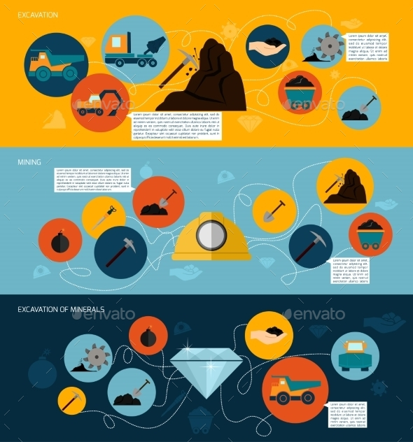 GraphicRiver Mining Icons Flat Banner Set 8899124
