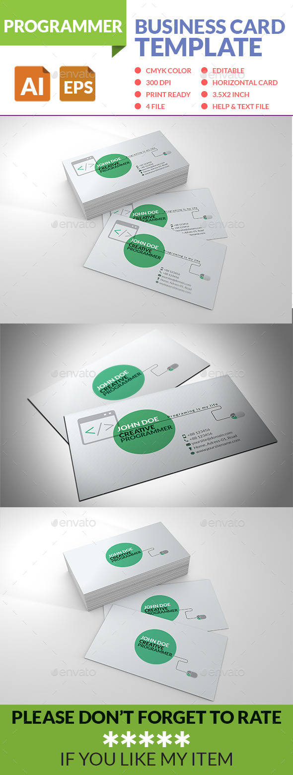 GraphicRiver Programmer Business Card 8899125