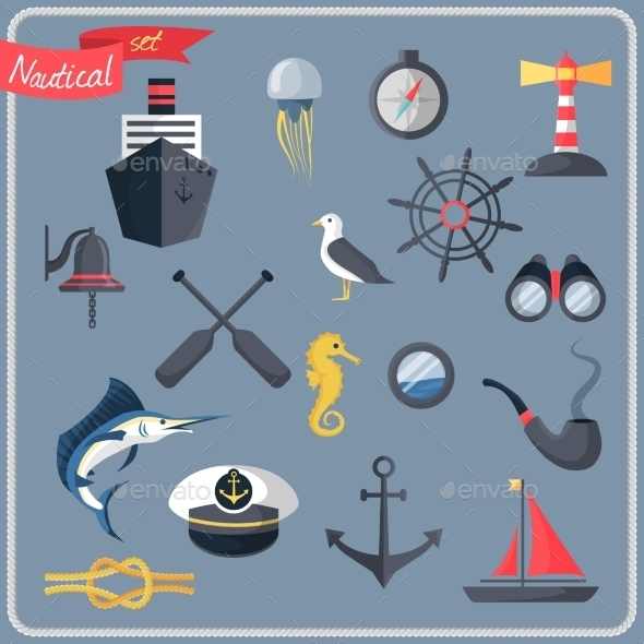 GraphicRiver Nautical Icons Set 8899136