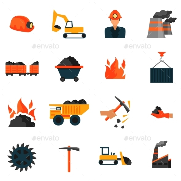 GraphicRiver Coal Industry Icons 8899144