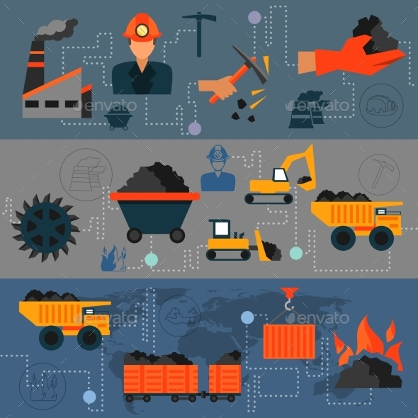 GraphicRiver Coal Industry Line Banners 8899148