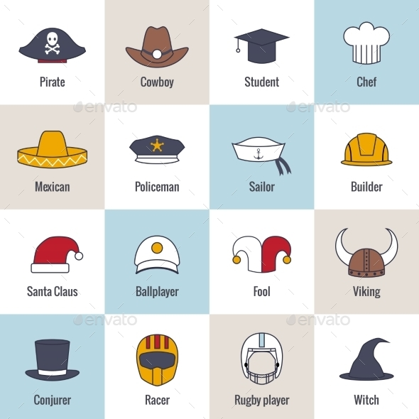 GraphicRiver Icons Hat Flat Line 8899149