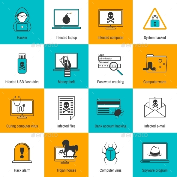 GraphicRiver Hacker Icons Flat Line 8899156