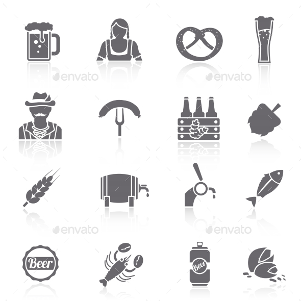 GraphicRiver Beer Icons Set Black 8899165