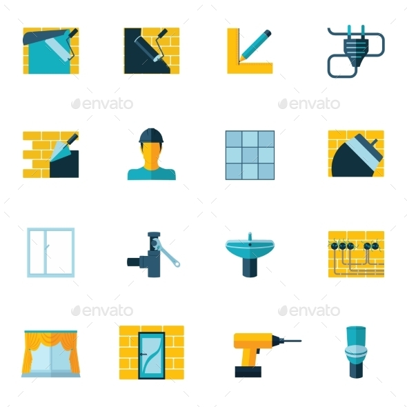 GraphicRiver Home Repair Icons Flat 8899215