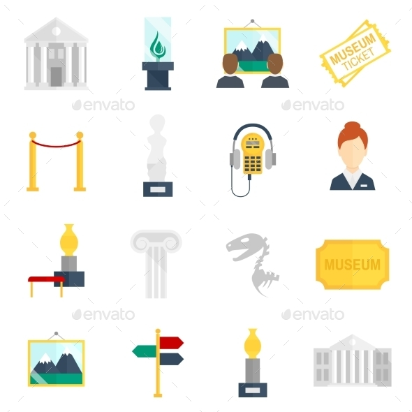 GraphicRiver Museum Icons Flat 8899217