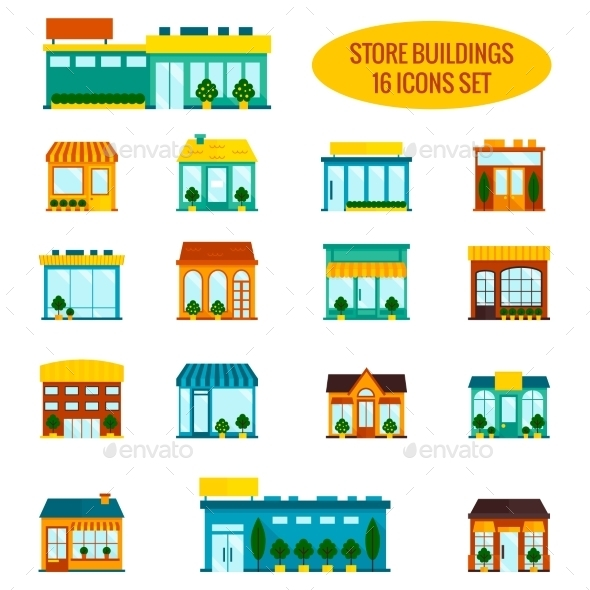GraphicRiver Store Building Icons Set 8899221
