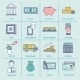 Bank Service Icons Flat Line - GraphicRiver Item for Sale