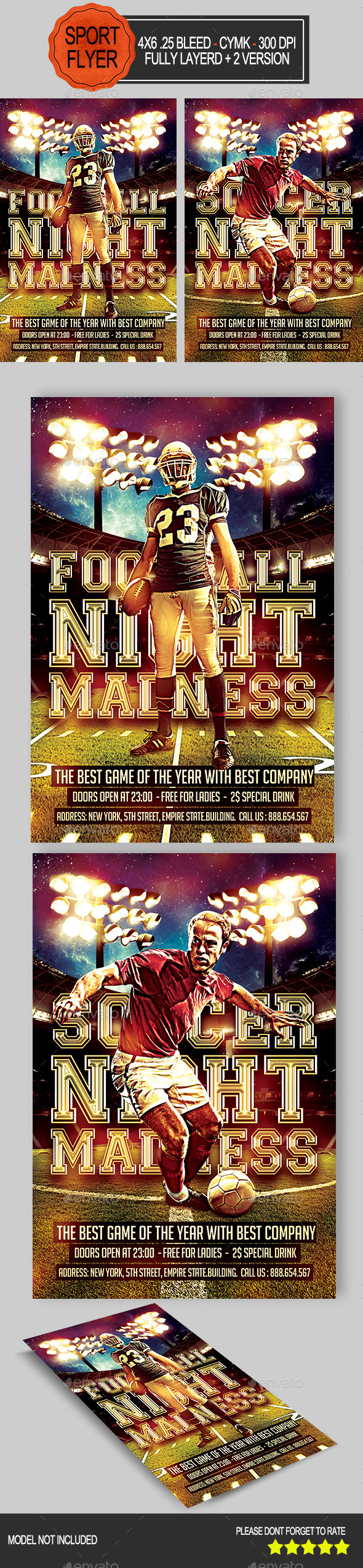 GraphicRiver Football and Soccer Night Flyer 8876441