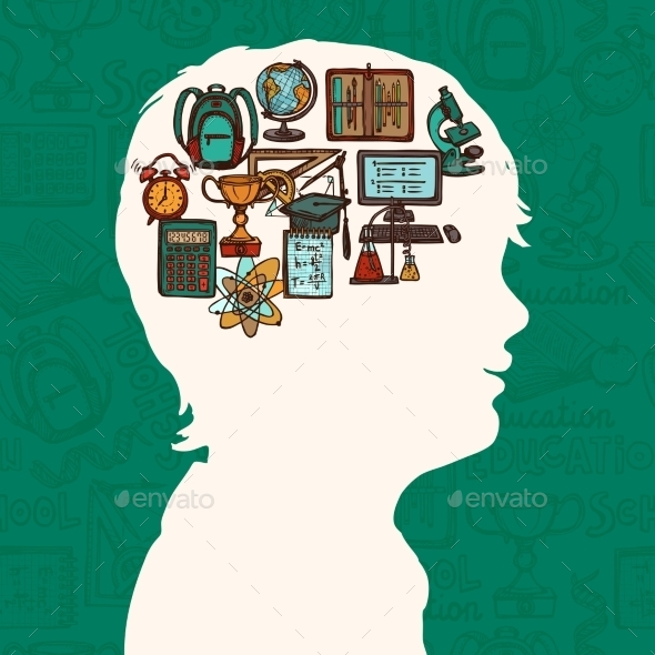 GraphicRiver Boy Silhouette with Education Icons 8899241