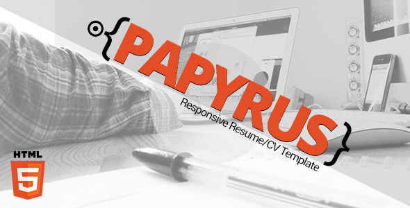 ThemeForest Papyrus Responsive Resume Template 8890947