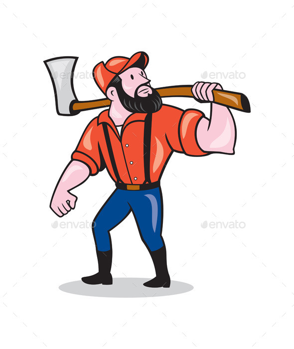 GraphicRiver LumberJack Holding Axe Cartoon 8899917