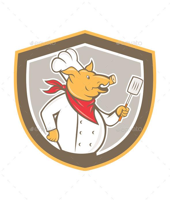 GraphicRiver Pig Chef Holding Spatula Shield Cartoon 8899929