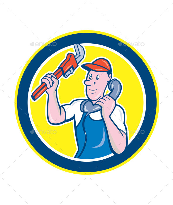 GraphicRiver Plumber with Monkey Wrench and Telephone 8899930