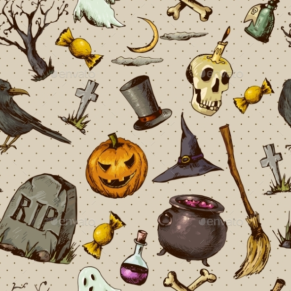 GraphicRiver Vintage Halloween Seamless Background 8901930
