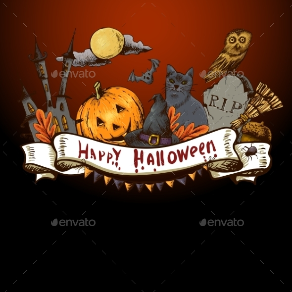 GraphicRiver Hand-drawn Halloween Invitation Card 8901972