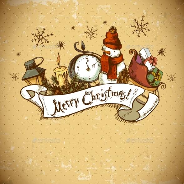 GraphicRiver Hand-drawn Christmas Invitation Card 8902013