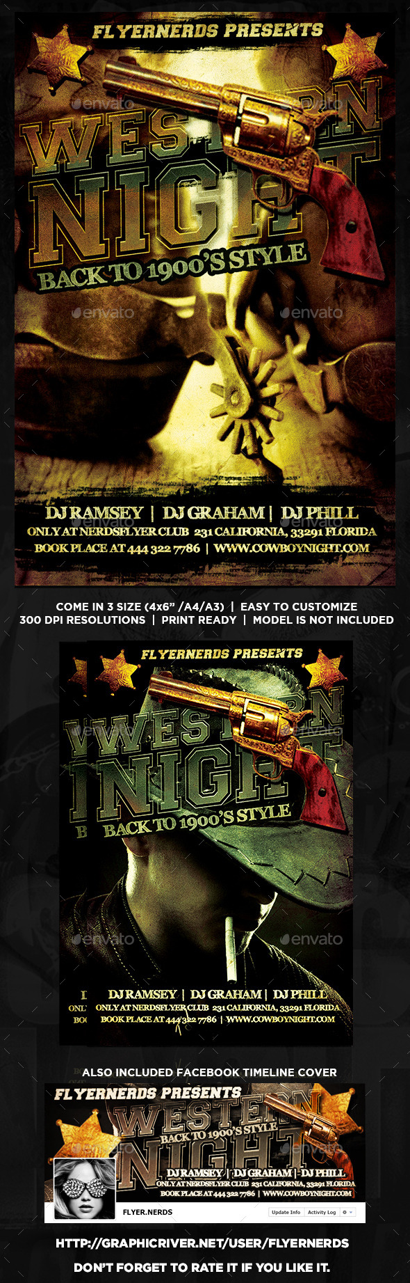 GraphicRiver Western Night Party Flyer 8892987
